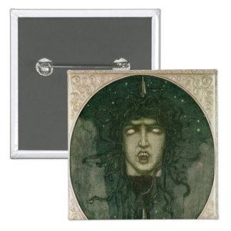 Medusa, 1919 2 inch square button