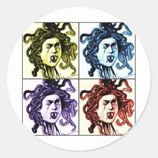 MEDUSA as VAMPIRE vintage collage print Classic Round Sticker