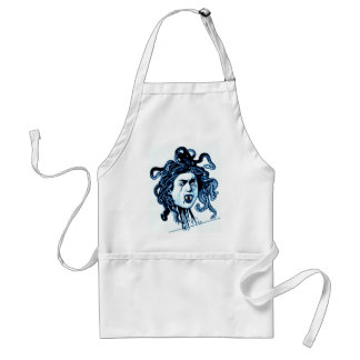 MEDUSA as VAMPIRE VINTAGE PRINT in blue Adult Apron