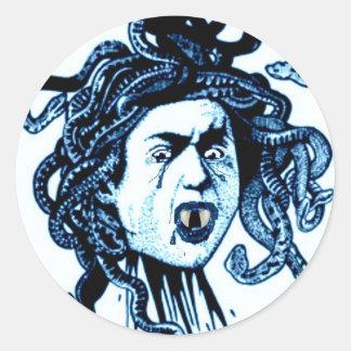 MEDUSA as VAMPIRE VINTAGE PRINT in blue Classic Round Sticker