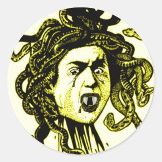 MEDUSA as VAMPIRE Vintage print in GOLD Classic Round Sticker