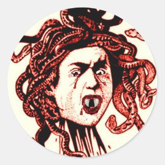 MEDUSA AS VAMPIRE VINTAGE PRINT IN RED CLASSIC ROUND STICKER