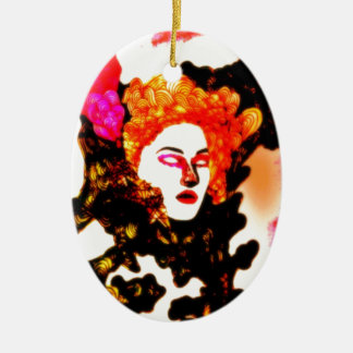 Medusa Double-Sided Oval Ceramic Christmas Ornament