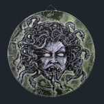 "Medusa Gorgon Dart Board<br><div class=""desc"">Snake&#39;s alive! Looks like someone&#39;s havin&#39; a bad hair day! This Bewitching Gorgon Medusa design is now available in both a collegiate university and hippy head shop logo version for shirts. Either way, this is one attention grabber for anyone who adorns the face of the most feared goddess of legend....</div>"