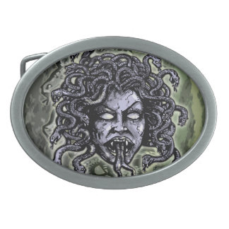 Medusa Gorgon Hebillas Cinturón Ovales