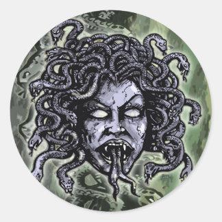 Medusa Gorgon Pegatina Redonda