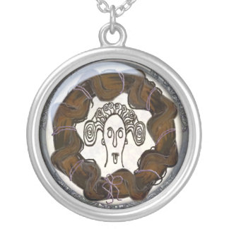 medusa head mourning brooch round pendant necklace