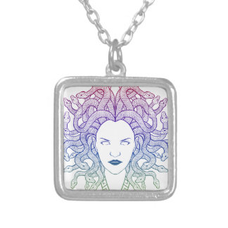 Medusa Head Square Pendant Necklace