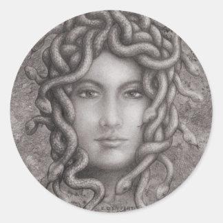 Medusa Pegatina Redonda