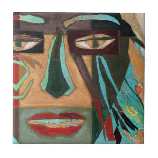 Medusa. portrait of a shaman ceramic tile