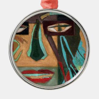 Medusa. retrato de un shaman adorno redondo plateado