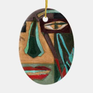 Medusa. retrato de un shaman adorno ovalado de cerámica
