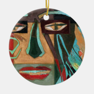 Medusa. retrato de un shaman adorno redondo de cerámica