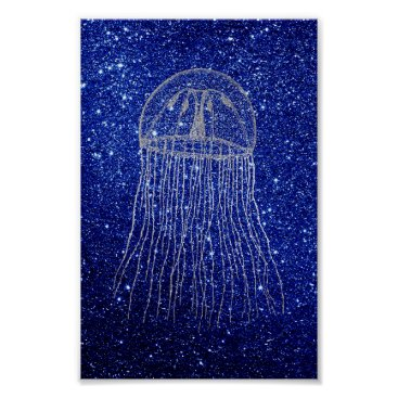 Beach Themed Medusa Sea  Ocean Silver Gray Aqua Navy Blue Beach Poster