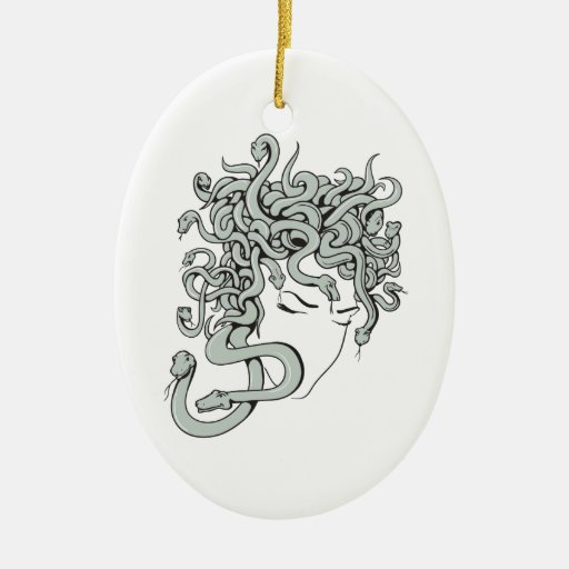 medusa snake lady vector illustration Double-Sided oval ceramic christmas ornament