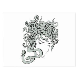 medusa snake lady vector illustration postcard