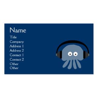 Medusas azules enrrolladas DJ con los auriculares  Tarjeta De Visita