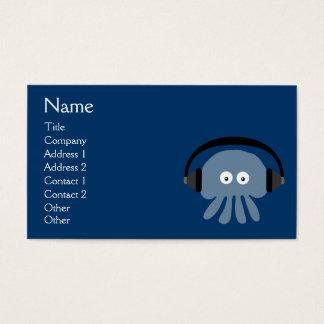Medusas azules enrrolladas DJ con los auriculares Tarjetas De Visita