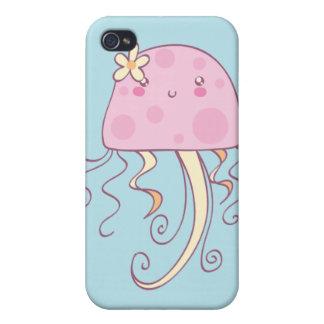 Medusas azules rosadas lindas del dibujo animado iPhone 4/4S carcasas