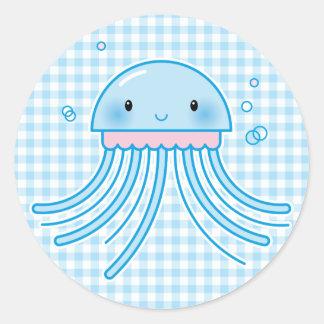 Medusas de Kawaii Pegatina Redonda