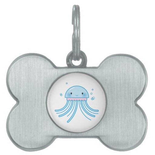 Medusas de Kawaii Placa De Mascota