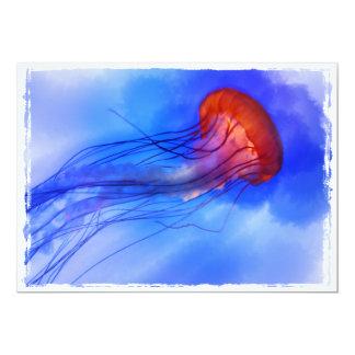 """Medusas de la acuarela invitación 5"""" x 7"""""""