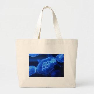 Medusas de neón azules bolsa lienzo