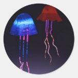 Medusas de neón pegatinas redondas