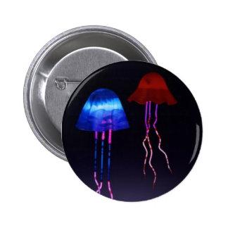 Medusas de neón pin redondo de 2 pulgadas