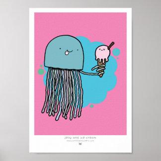 Medusas e impresión del helado A4 (FONDO ROSADO) Posters