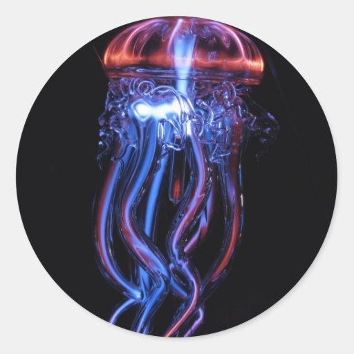Medusas frescas Phenomeno ligero luminoso Pegatina Redonda