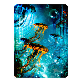 """Medusas impresionantes en un mundo subacuático de invitación 5.5"""" x 7.5"""""""