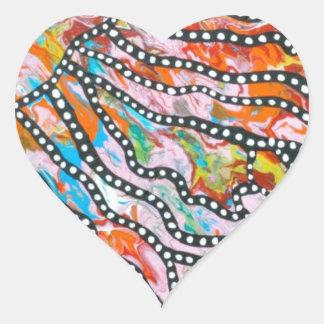 Medusas innumerables del espejismo del color pegatina en forma de corazón