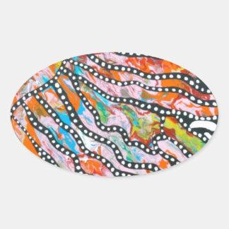 Medusas innumerables del espejismo del color pegatina ovalada