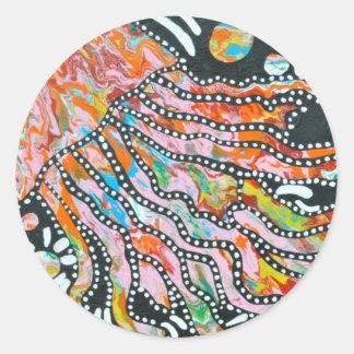 Medusas innumerables del espejismo del color pegatina redonda