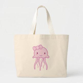 Medusas lindas rosadas bolsa de tela grande