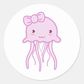 Medusas lindas rosadas pegatina redonda