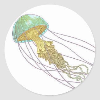 Medusas Pegatina Redonda