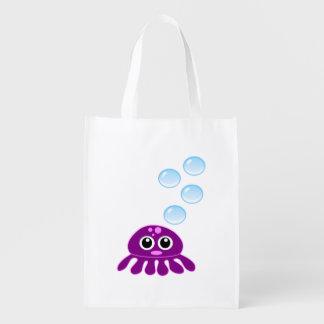 Medusas púrpuras lindas de Kawaii con las burbujas Bolsas Para La Compra