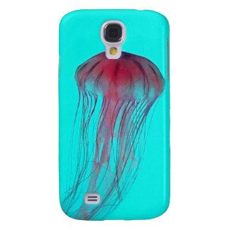 Medusas rosadas de Fuschia en verde azul de la agu