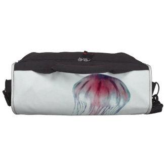 Medusas rosadas en verde azul de la aguamarina lig bolsas para portátil