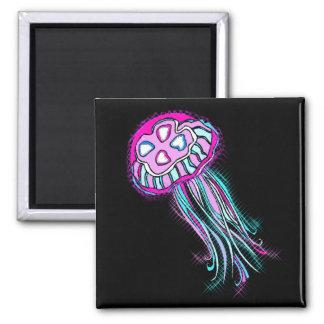 Medusas rosadas imán cuadrado
