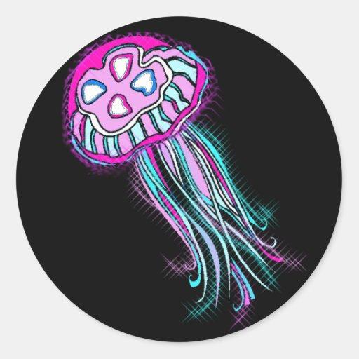 Medusas rosadas pegatina redonda