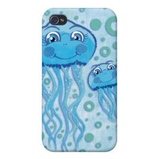 Medusas y burbujas lindas 4 iPhone 4 carcasas