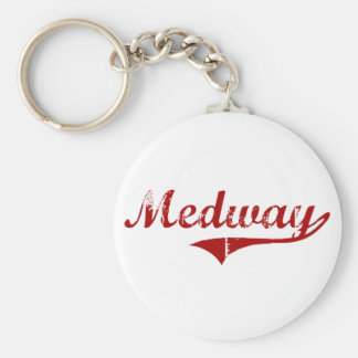 Medway Massachusetts Classic Design Basic Round Button Keychain