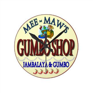 Mee Maw's Gumbo Shop Round Clock
