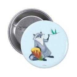 Round Button with Meeko & Flit of Pocahontas design