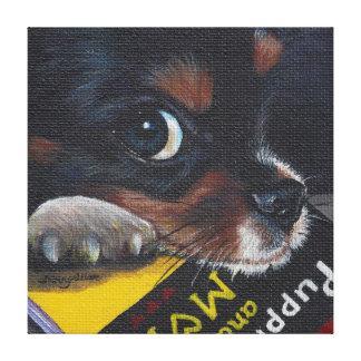 Meeko Cavalier King Charles Puppy Reading a Book Canvas Print