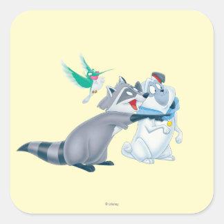 Meeko y amigos calcomania cuadrada personalizada