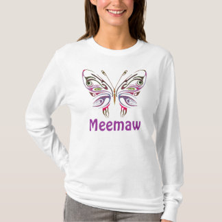 Meemaw Personalized Butterfly T-Shirt